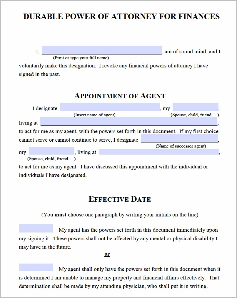 Durable Power Of Attorney Form Michigan