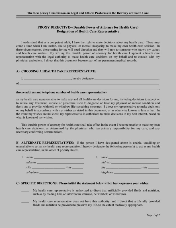 Durable Power Of Attorney Form Nj