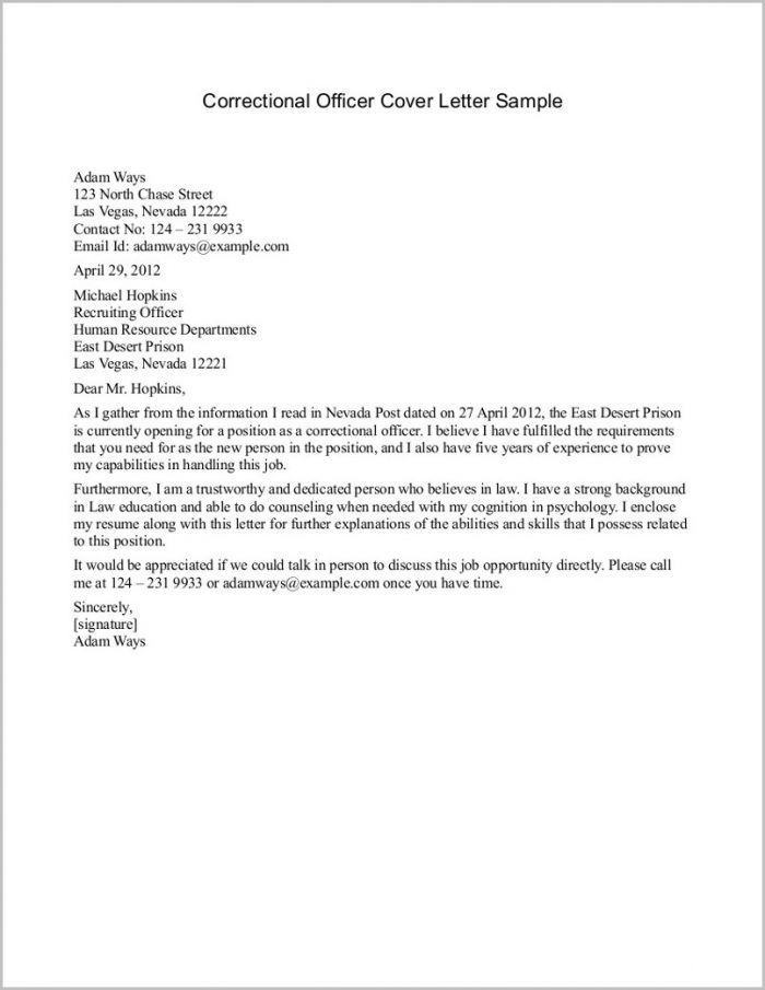 Example Of Cover Letter And Resume For Correctional Officer Job