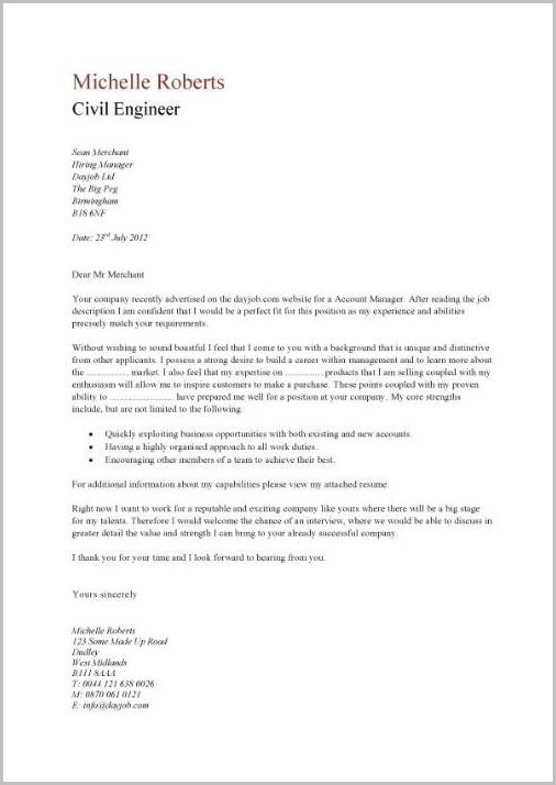 Examples Of Cover Letter For Engineering Resumes