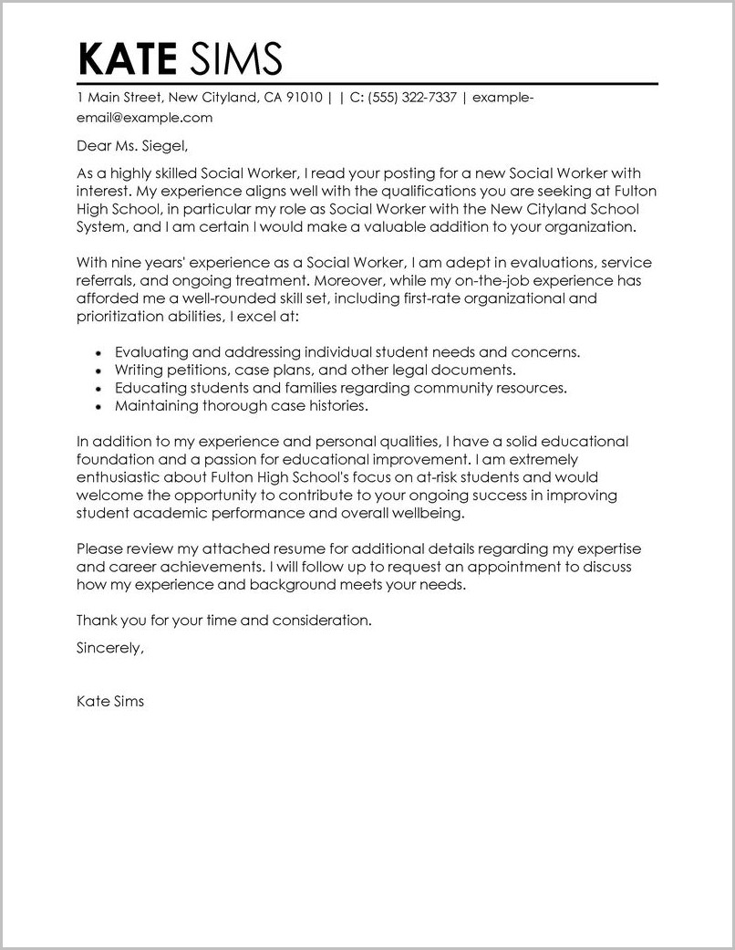 Examples Of Cover Letters For Resumes For Social Workers