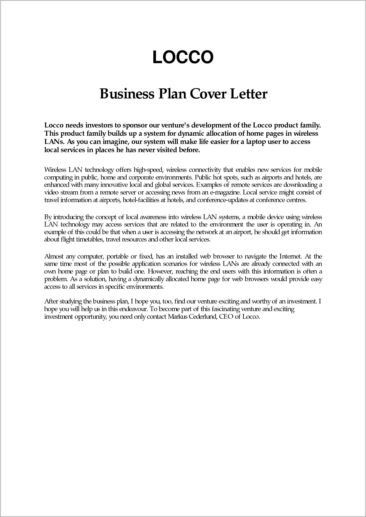 Business Plan Cover Letter Cover Letter Format In Business Plan Cover Letter Example