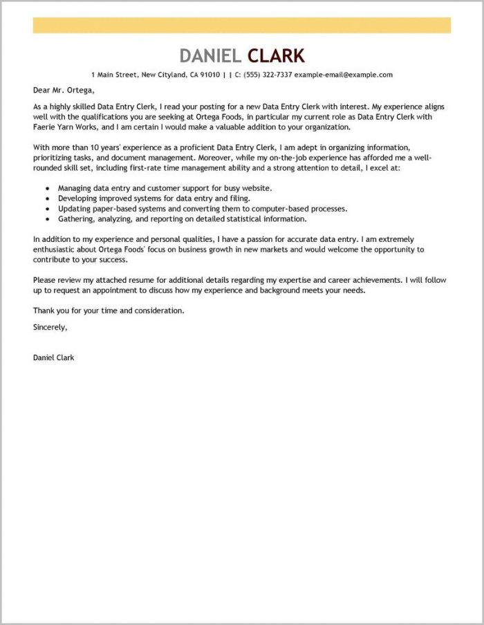 Free Sample Cover Letter For Clerical Position