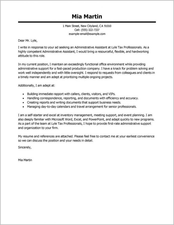 Free Sample Cover Letter For Executive Assistant