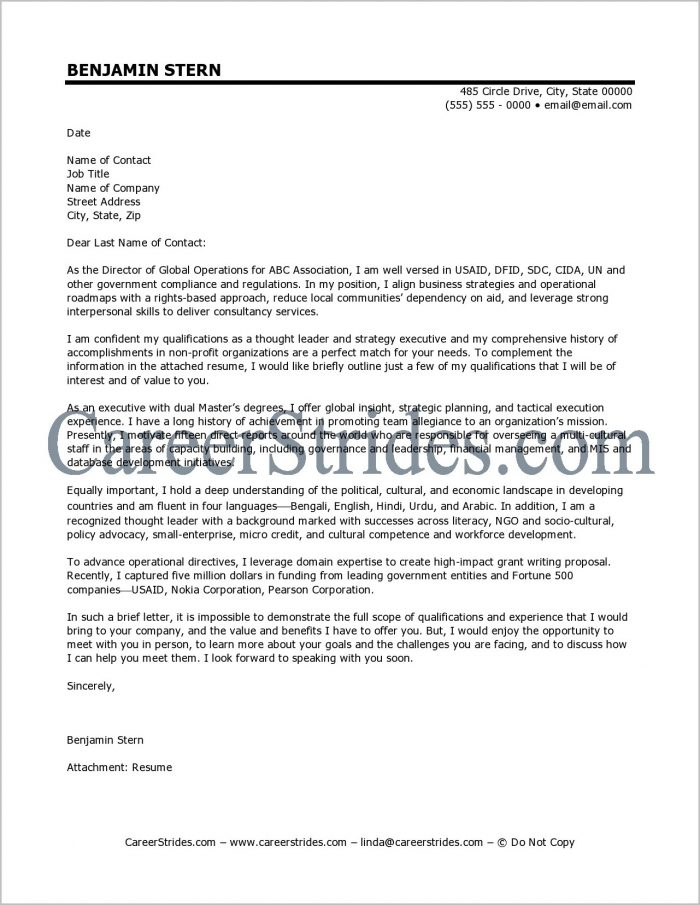 Free Sample Cover Letter For Executive Director