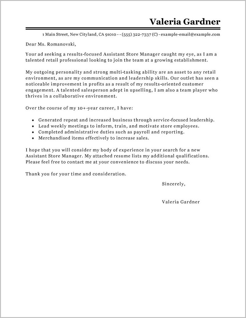 Free Sample Cover Letter For Retail Manager