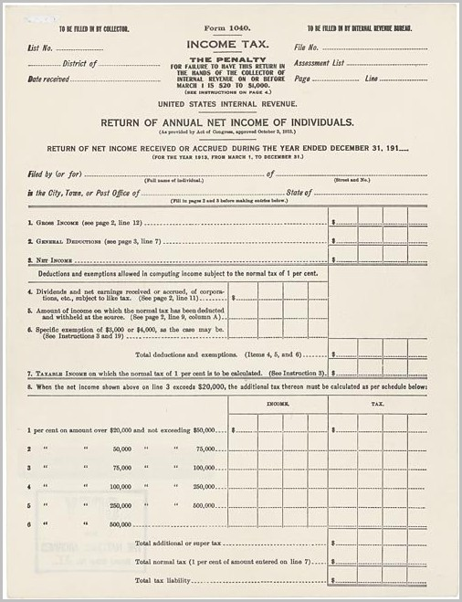 Irs Form 1040 History