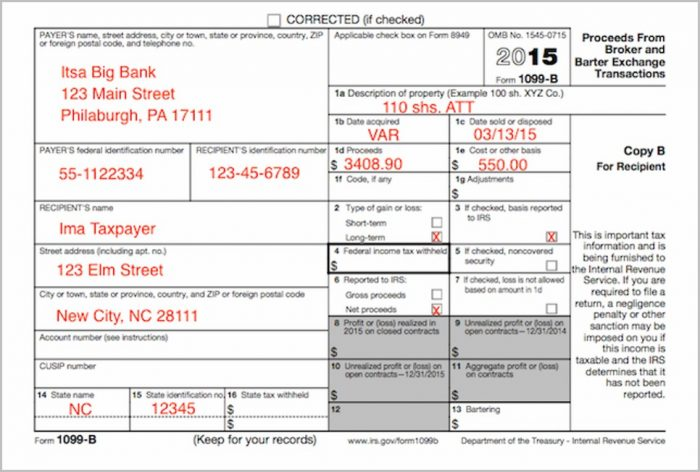 Irs Forms 1099 B
