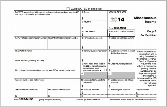 Irs Forms 1099 Misc 2014