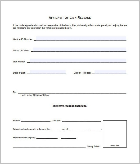 Lien Release Form Example