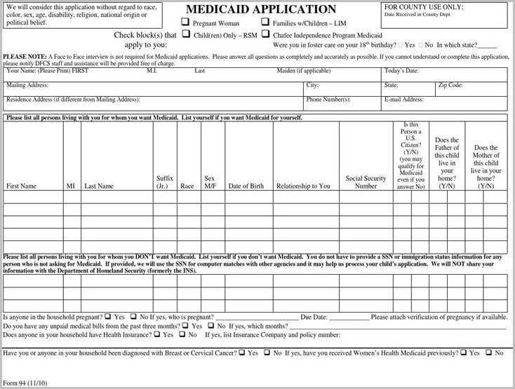 Medicaid Application Form 94