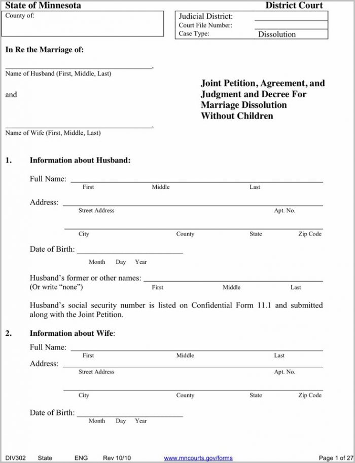 Minnesota Divorce Forms