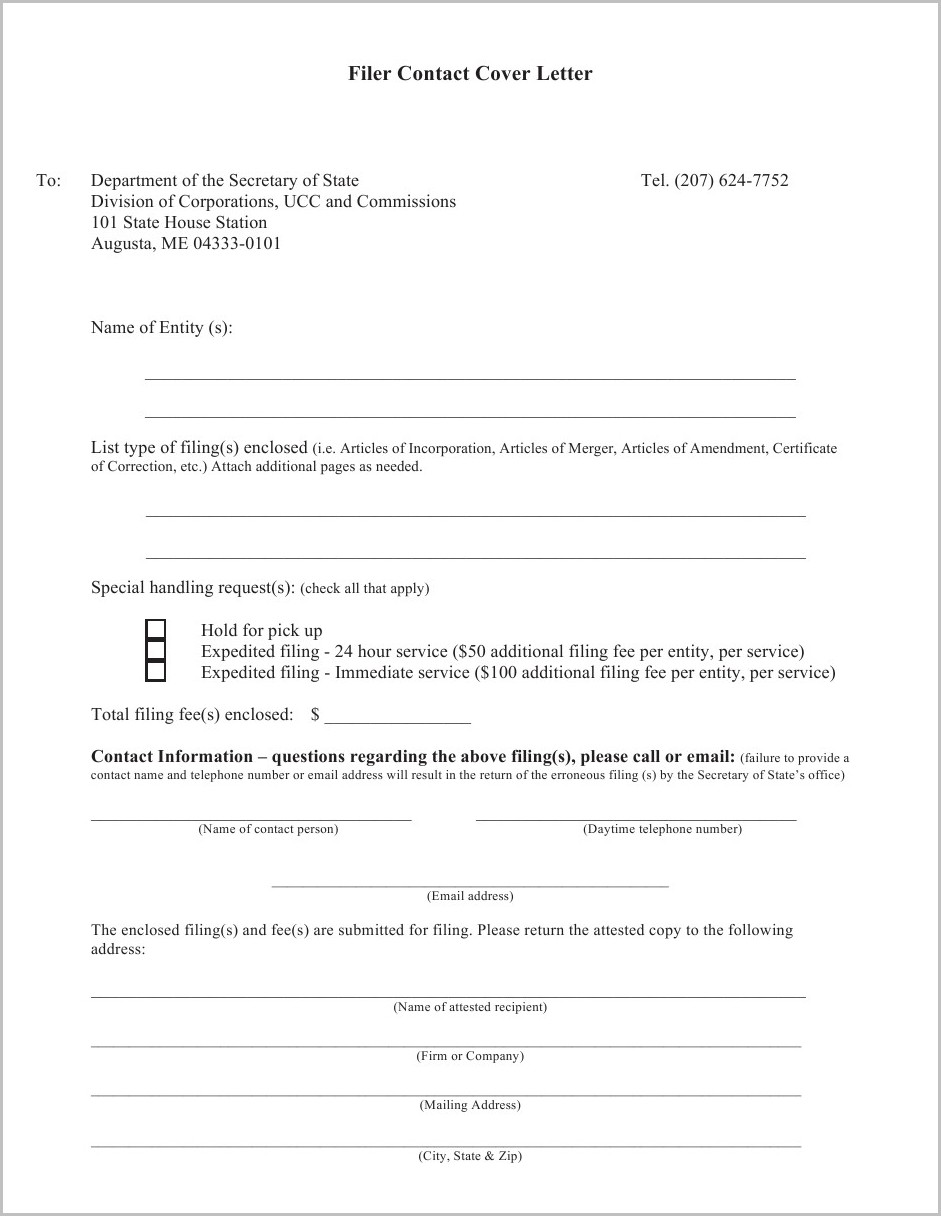 North Carolina Apostille Cover Letter