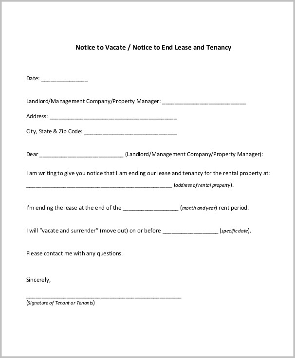 Notice To Vacate Form Tenant