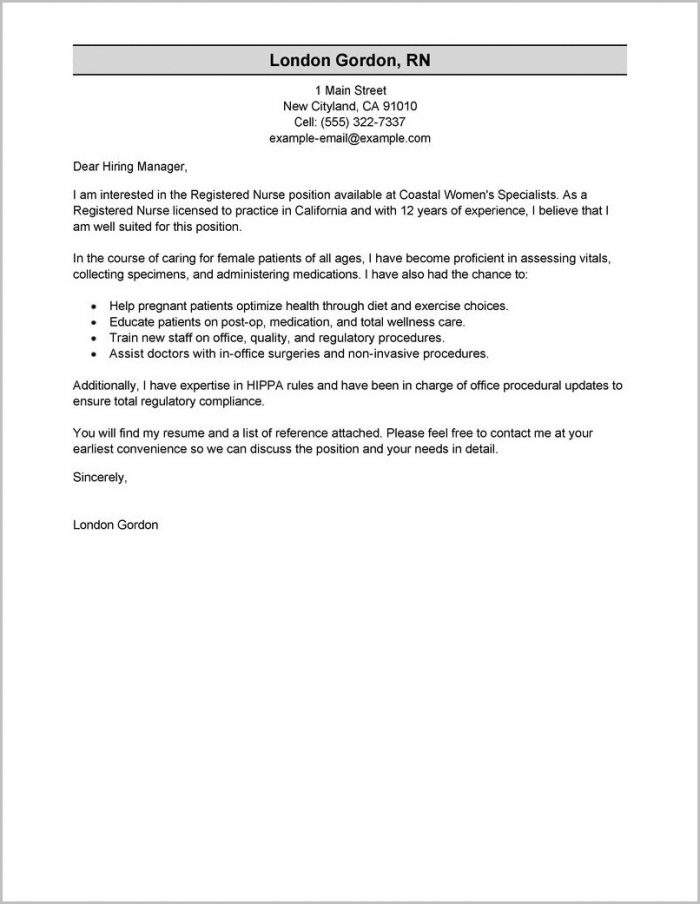Nursing Cover Letters For Resumes