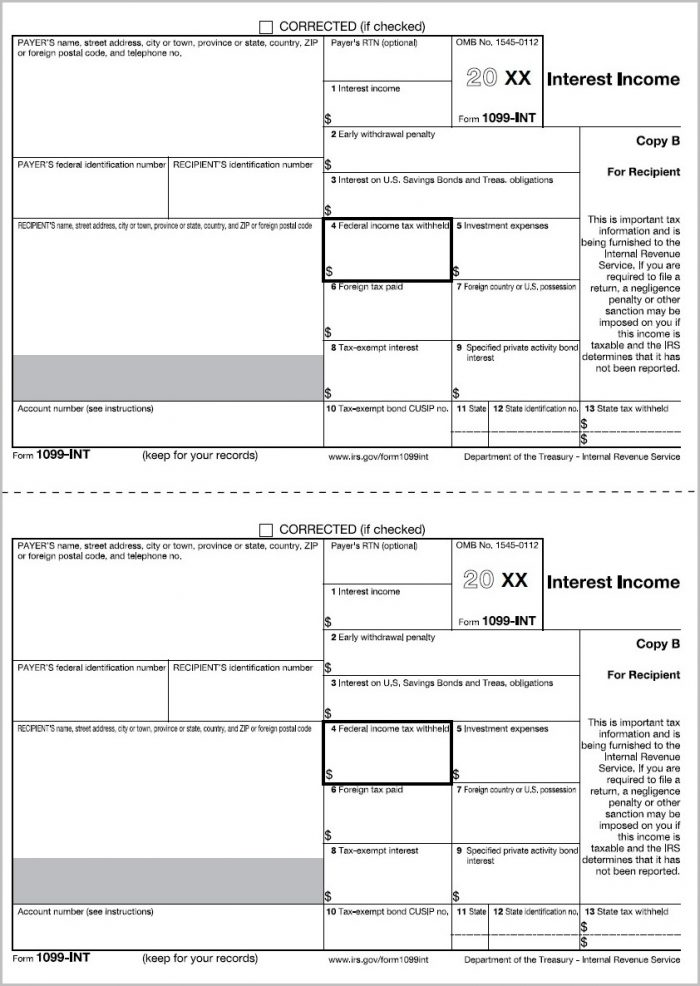 Printable 1099 Forms For Quickbooks