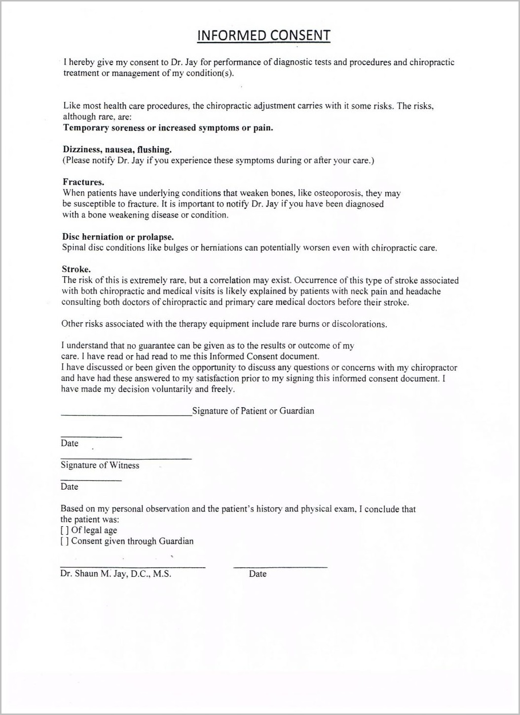 Printable Chiropractic Intake Forms