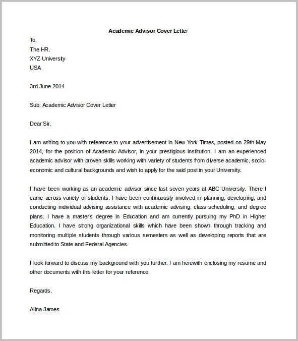 Printable Cover Letter Format