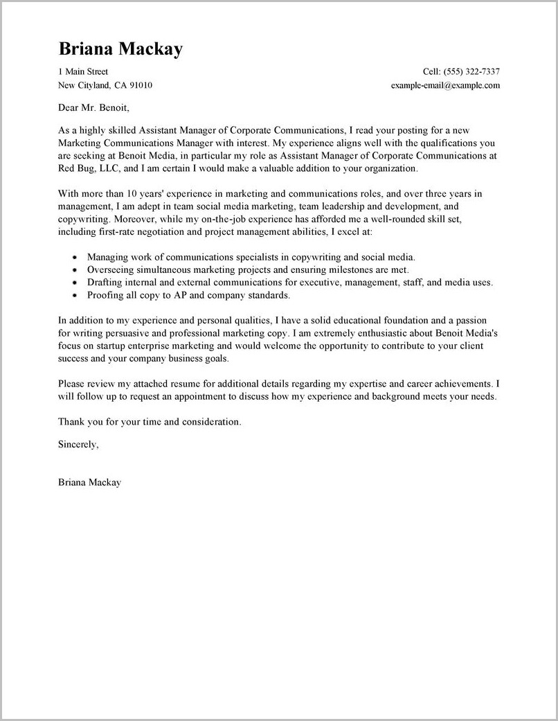 Property Manager Cover Letter Sample Free