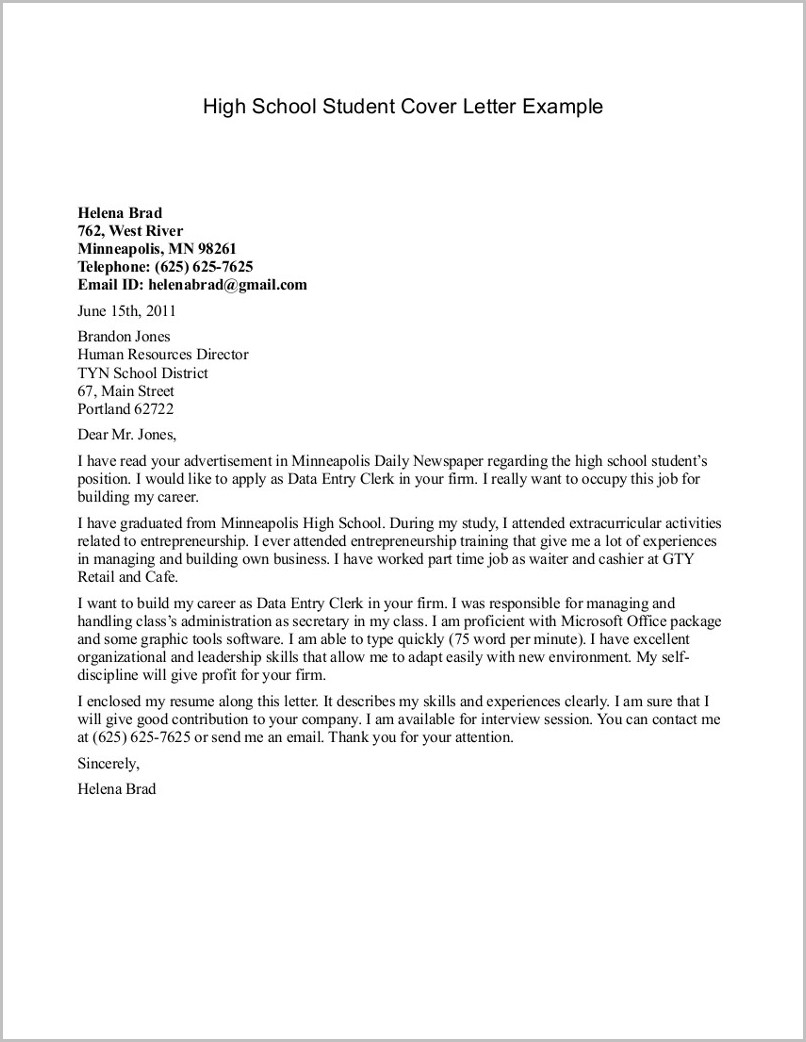 Resume Cover Letter Examples For Highschool Students