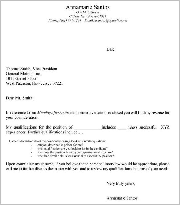 Sample Cover Letter And Resume For High School Student