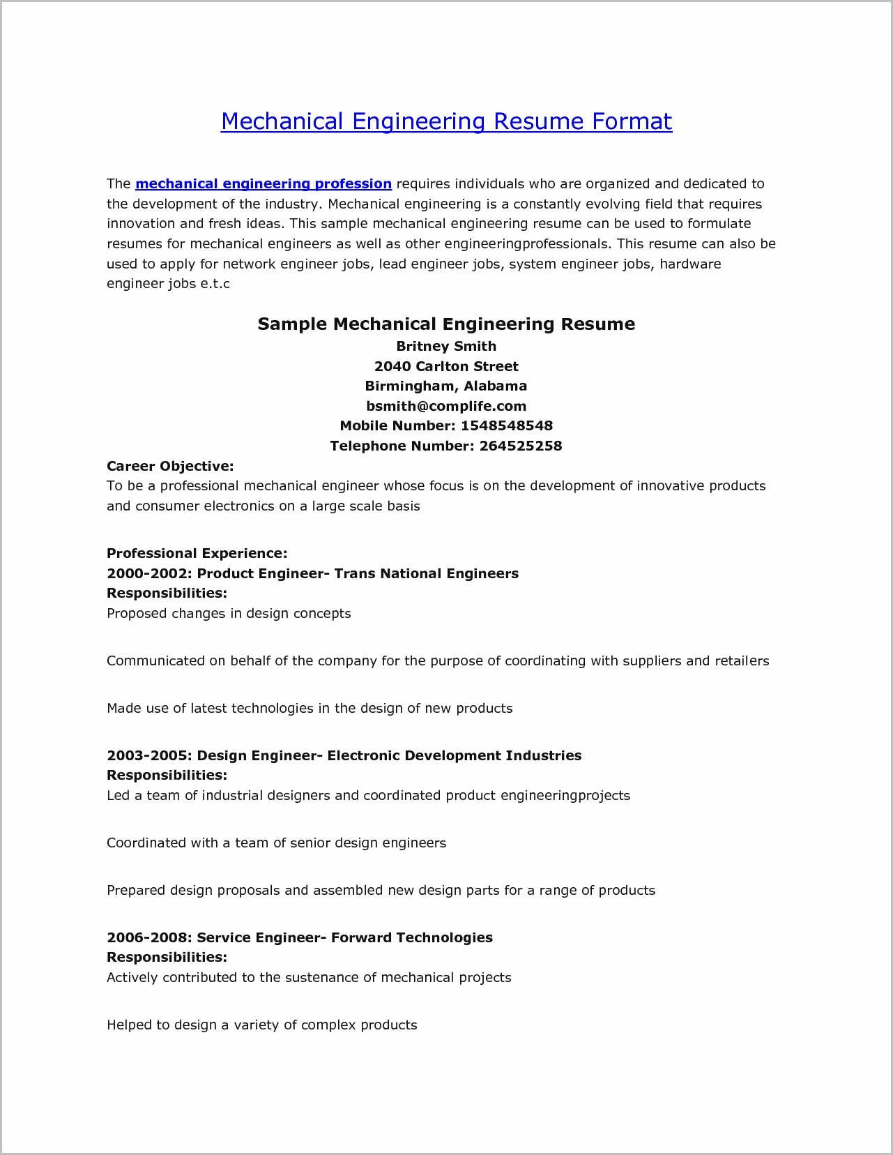 Sample Cover Letter For Resume Of Mechanical Engineer
