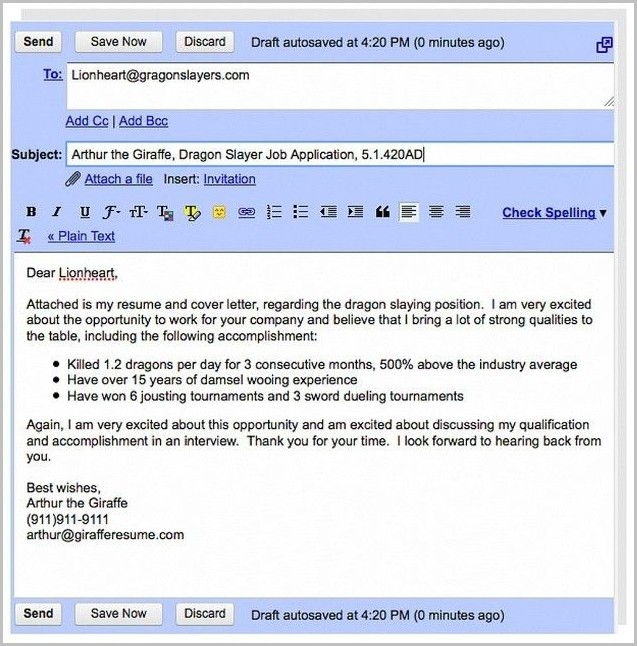 Sample Cover Letter For Resume Via Email