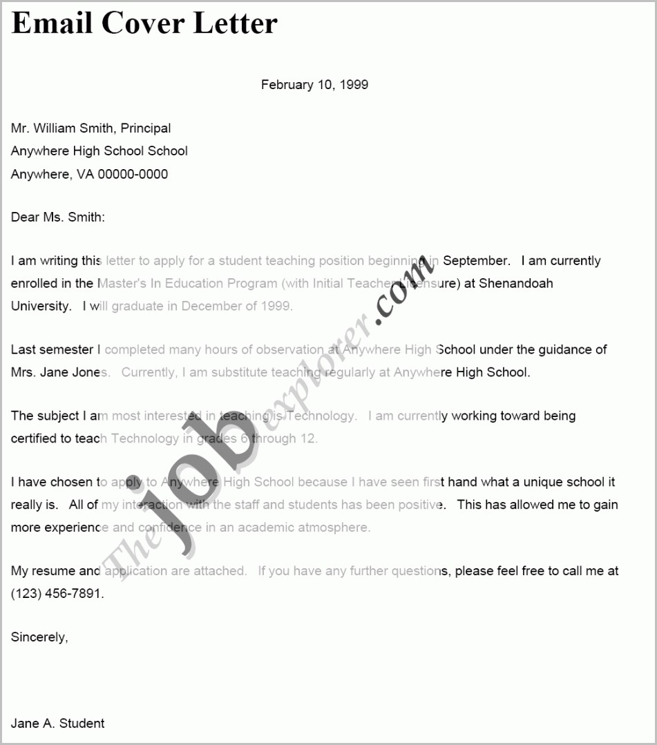 Sample Cover Letter Resume Through Email
