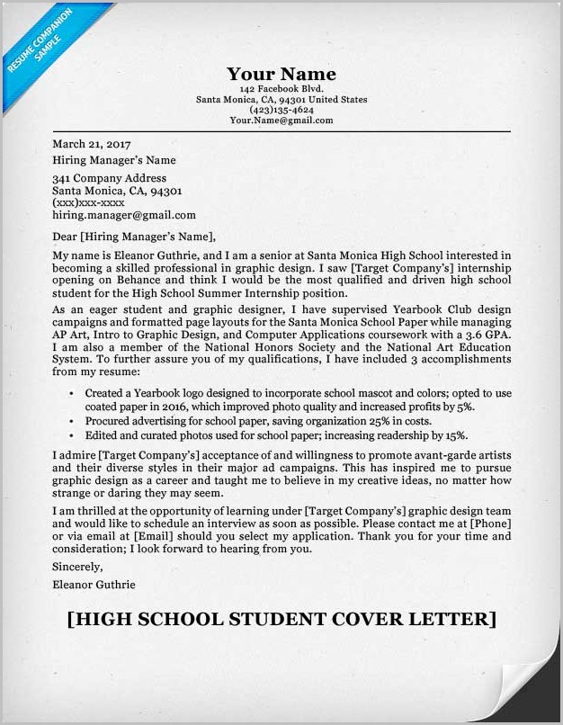 Sample Resume And Cover Letter For High School Students