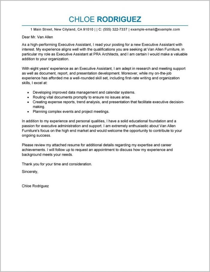 Sample Resume Cover Letter Executive