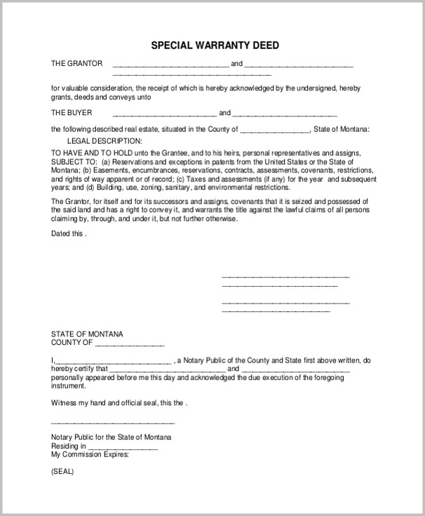 Special Warranty Deed Form Texas