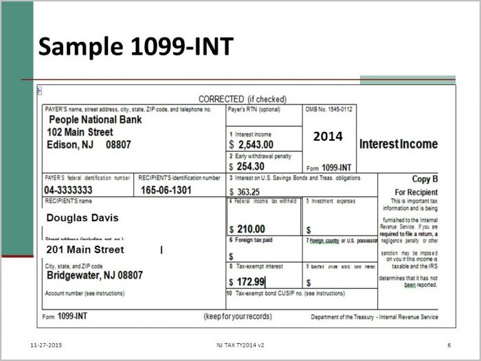 Tax Form 1099 Int