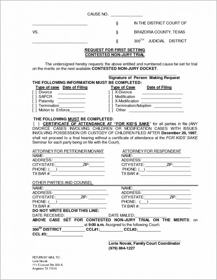 Texas Divorce Forms Pdf