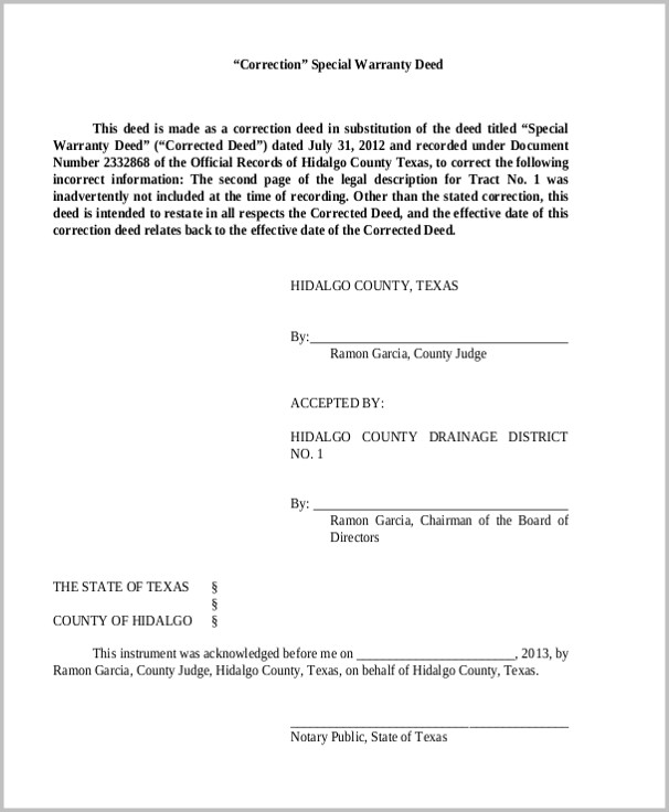 Texas Special Warranty Deed Form Pdf