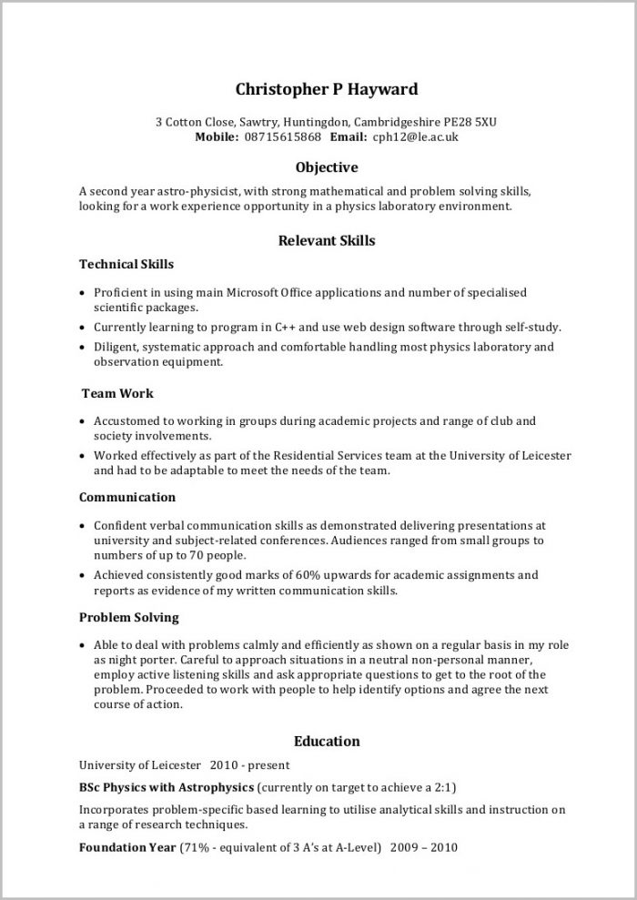 Academic Resume Template For Word