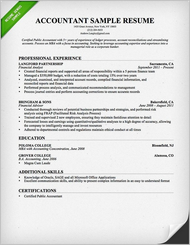 Accounting Resume Template