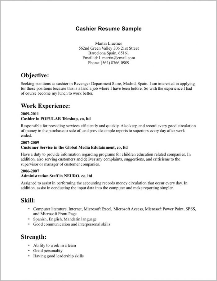 Basic Outline Of A Resume