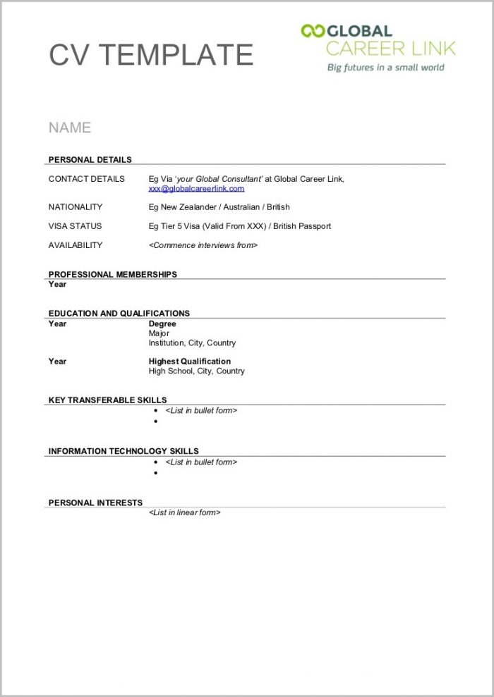 Blank Resume Templates For Word