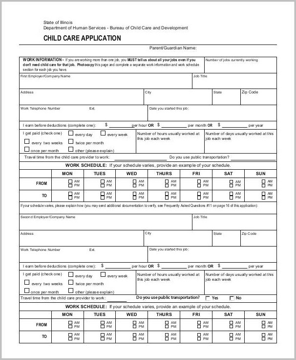 Daycare Employment Application Sample