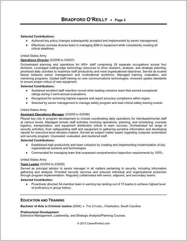 Example Of A Military To Civilian Resume