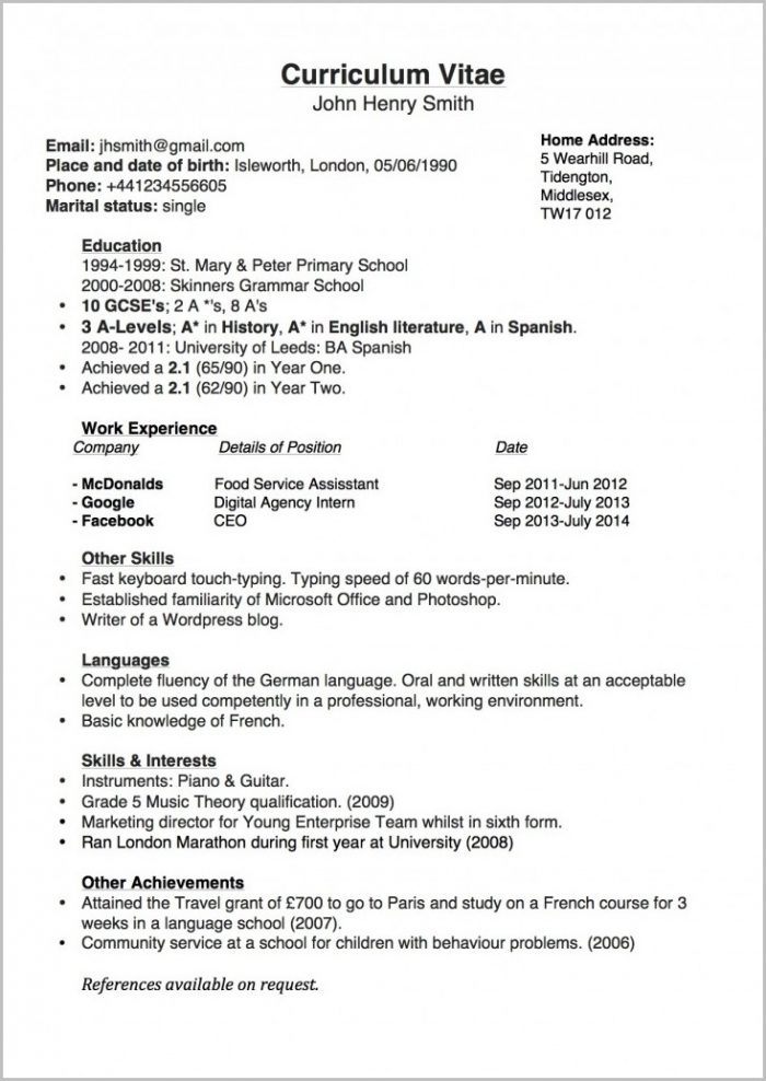 Examples Of A Job Resume Outline