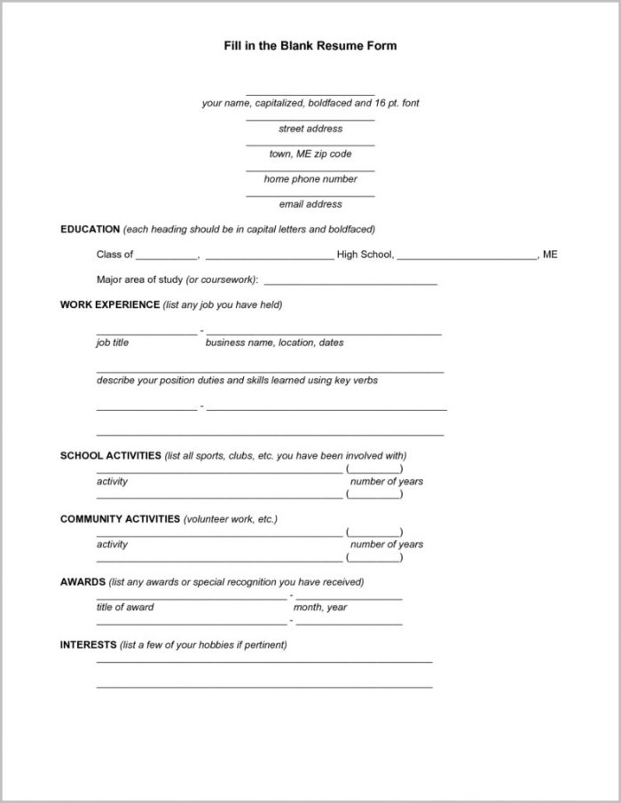 Free Printable Resume Templates Online Free Printable Fill Blank Intended For Download Free Resume Templates