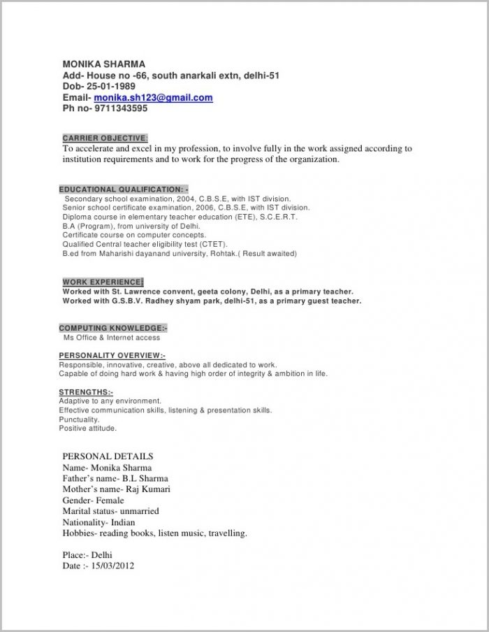 Fill In The Blank Resume For Free