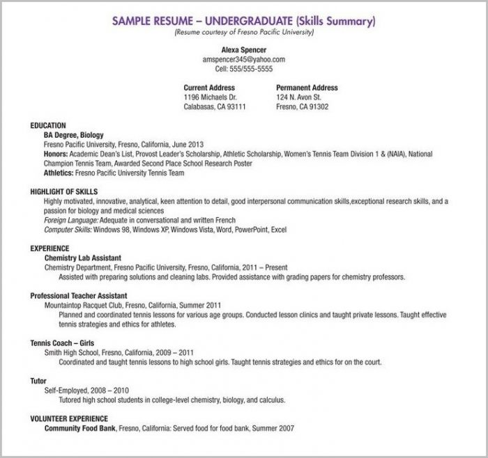 Fill In The Blank Resume Template For Highschool Students