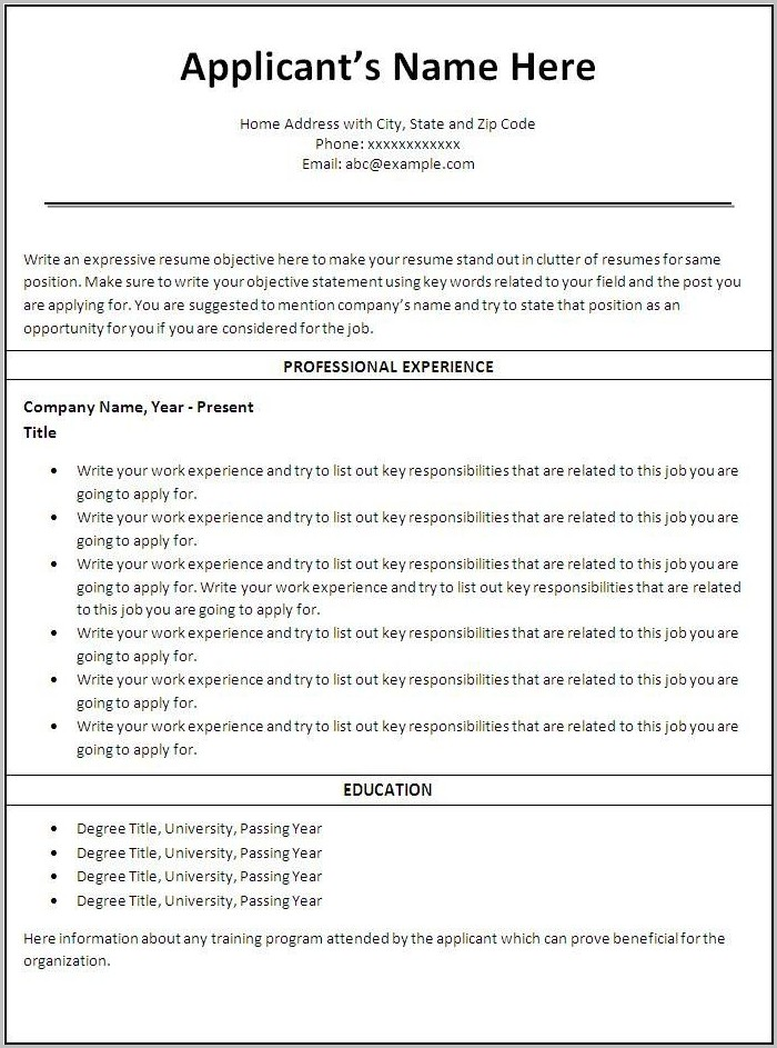Fill In The Blank Sample Resume