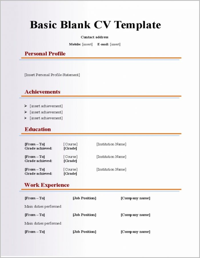 Fill In The Blank Student Resume