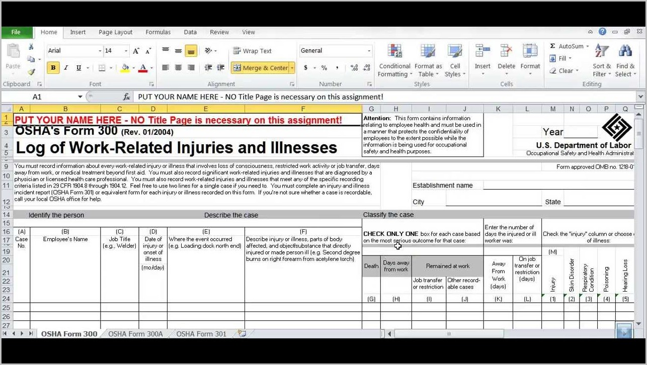 Filling Out The Osha 300a Form