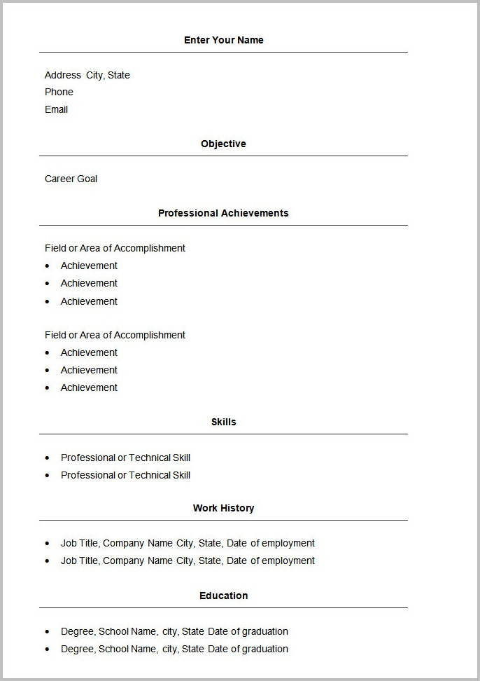 Free Basic Resume Templates Word