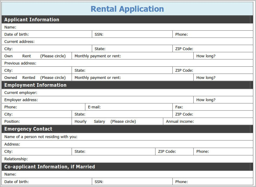 Free Printable Application For Rental