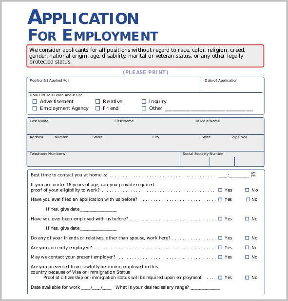 Free Printable Application Form Template